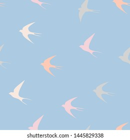 Swallow bird. Seamless vector pattern. Wrapping paper, greeting card, poster, print design