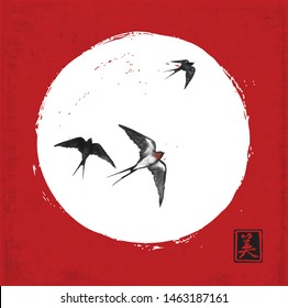 Swallow birds in white circle on red background. Traditional Japanese ink wash painting sumi-e. Hieroglyph - beauty