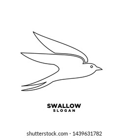 Swallow black outline  logo. Isolated swallow on white background. Vector illustration