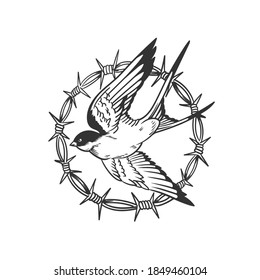 A Swallow. Can be used as a sketch of a tattoo.
