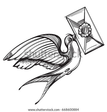 Swallow Carries Letter Old School Tattoo Stock Vector Royalty Free