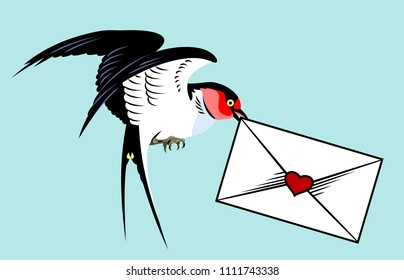 Swallow carrying an envelope with a letter. Old school tattoo style