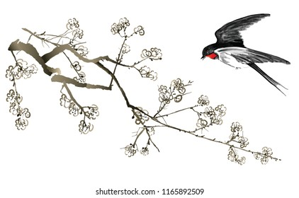 Swallow and cherry tree - Vector illustration