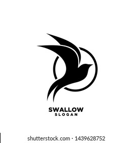 Swallow circle logo. Isolated swallow on white background. Vector illustration
