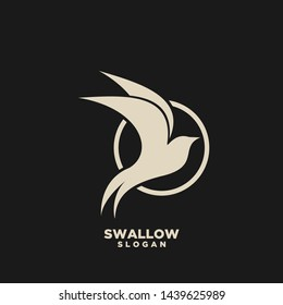 Swallow gold circle logo. Isolated swallow on white background. Vector illustration
