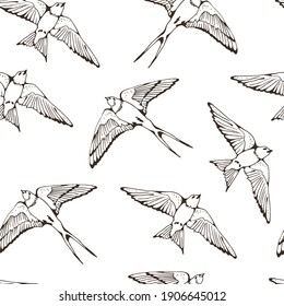 Swallow and House Martin birds vector pattern, hand drawn seamless background