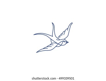Swallow icon isolated on white background. Tattoo Style Swallow. Vector ink pen hand drawn flying swallow silhouette illustration with vintage feel