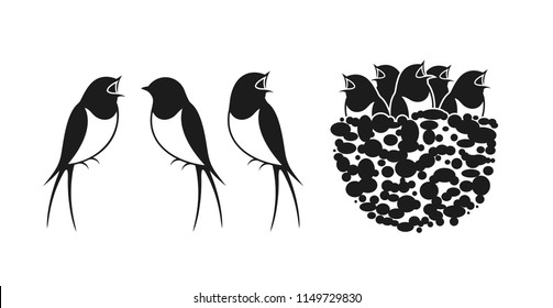 Swallow logo. Nest of Swallows. EPS 10. Vector illustration