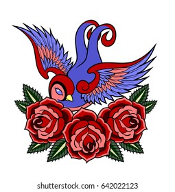 Swallow on a background of luxuriantly blooming red roses. Old school tattoo style