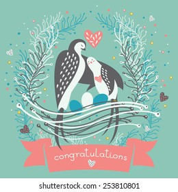 Swallow parents and eggs in the nest with ribbon and floral elements. Cute greeting Birthday card or invitation in vector.