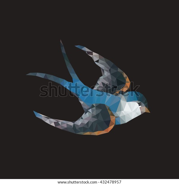 swallow. polygonal graphics. old school tattoo style. vector illustration