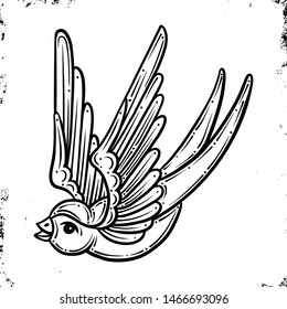 Swallow.Old School Traditional Tattoo. Violet and pink colors. On Vintage background. Vector isolation.Good for printing youth fashion t-shirts. Salon Tattoo Emblem, Temporary tattoo decal