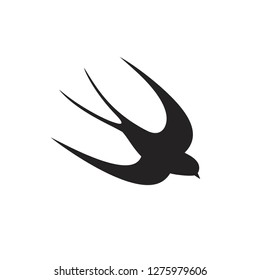 Swallow silhouette. Isolated swallow on white backgroun. Bird