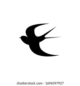 Swallow silhouette. Isolated swallow on white background.