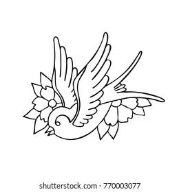 swallow traditional tattoo flash