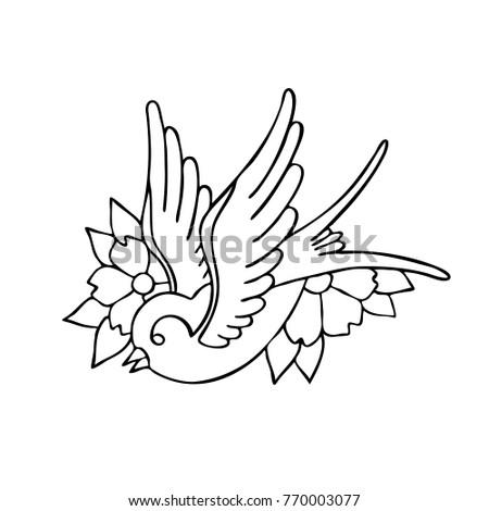 Swallow Traditional Tattoo Flash Vector De Stock Libre De Regalias