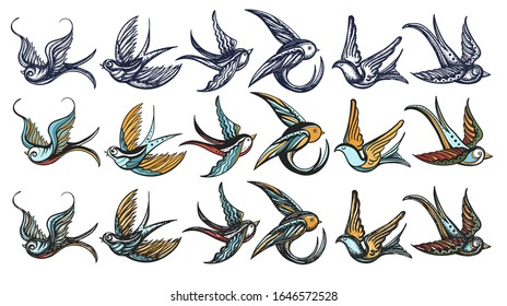 Swallows birds collection. Old school tattoo style. Hand drawn vector illustration