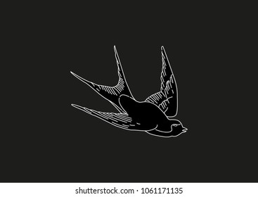 swallows. birds are flying. silhouettes of swallows. black birds. black background