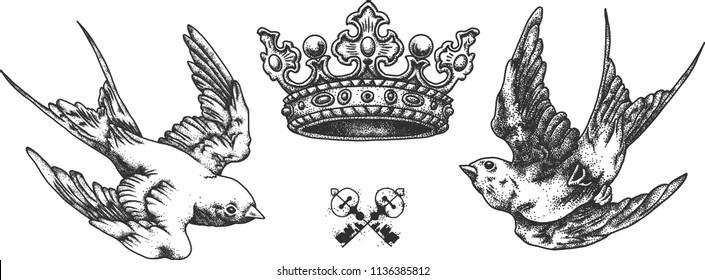 Swallows and crown. Tattoo sketch. Dot work. Pointillisme