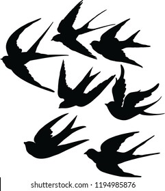 swallows fly vector black birds silhouette