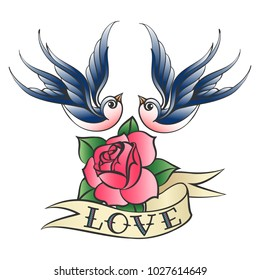 Swallows flying over rose flower and ribbon with lettering Love. Vector illustration in tattoo style.