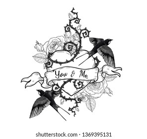 swallows with heart vector tattoo by hand drawing.Beautiful bird on rose background.Black and white graphics design art highly detailed in line art style.Swallows for tattoo or wallpaper.