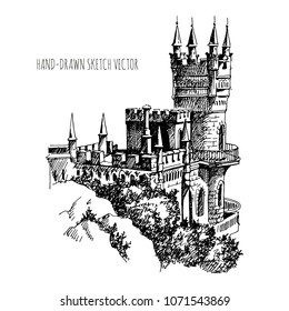 Swallow's Nest castle over the Black Sea in Crimea, Russia. Landmark of Crimea. Beautiful antique castle, drawing by hand.