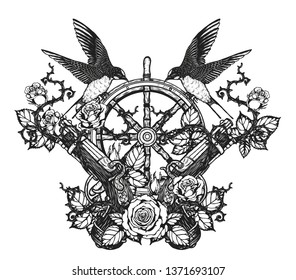 swallows with steering wheel vector tattoo by hand drawing.Beautiful bird on compass and rose background.Black and white graphics design art highly detailed in line art style.Swallows for tattoo