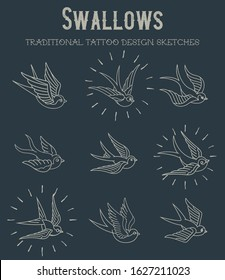 Swallows Traditional Tattoo Design Sketches Line Art Icons, Labels, Symbols