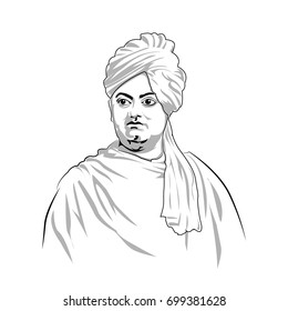 Swami Vivekananda great Indian philosopher. vector art