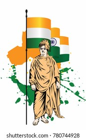 Swami Vivekananda great Indian philosopher. happy republic day India vector art