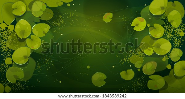 Swamp or lake top view with nenuphars or water lily pads. Natural background with deep marsh and lotus leaves, wild pond covered with duckweed and green waterlily plants, Cartoon vector illustration
