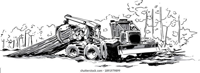 Swamp logger illustration. Skidder Vector illustration