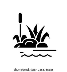 Sumpfpflanzen schwarze Ikone, Concept Illustration, Vektorillustration flaches Symbol, Glyph-Zeichen.