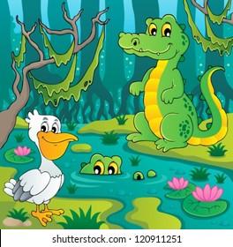 Swamp theme image 3 - vector illustration.