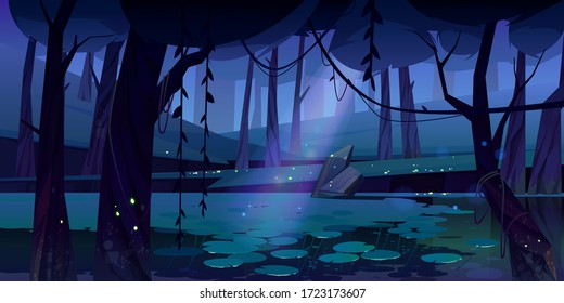 Swamp in tropical forest with fireflies at night. Fairy landscape with marsh, water lilies, trees trunks and rocks. Vector cartoon illustration of wetland, wild jungle with river or pond