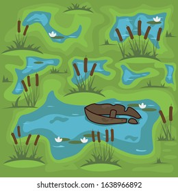 swamp vector illustration. green marsh water with vegetation and a sunken boat. black spot.