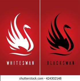 Swan. Beautiful swan. Swan logo. silhouette of elegance swans against red color background