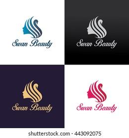 Swan beauty logo design template ,Woman logo design concept ,Vector illustration
