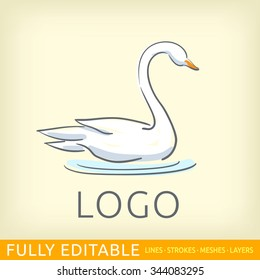 Swan. Bird. Logo template. Fully editable outlines, saved lines and layers. Sketch hand drawn design of logo. Modern vector concept.