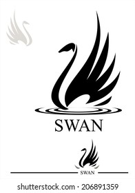 Swan. Black Swan. Stylized Swan silhouette in black