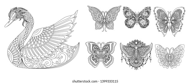Swan and butterflies collection for adult coloring book, engraving and printing on other products. Vector illustration