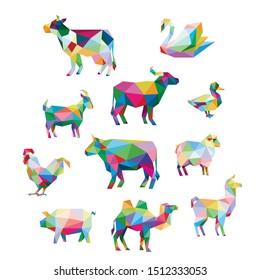 SWAN CHICKEN DUCK OX BUFFALO COW SHEEP PIG GOAT CAMEL LLAMA FARM ANIMAL POP ART LOW POLY LOGO ICON SYMBOL TRIANGLE GEOMETRIC POLYGON SET