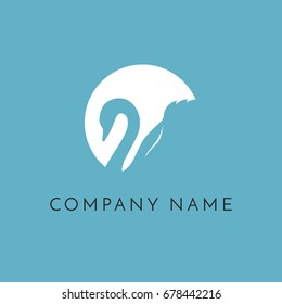 swan in circle logo sign emblem on blue background