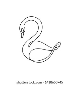 Swan continuous line drawing, isolated vector illustration, tattoo, print and logo design, beautiful swan bird silhouette single line on a white background.