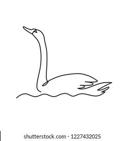 Swan continuous one line vector drawing. Bird floating on water. Hand drawn wildlife animal. Fauna. Swan lake. Thin line waterbird specie drawing. Minimalistic contour illustration