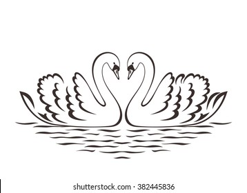 Swan couple silhouette. Vector illustration.