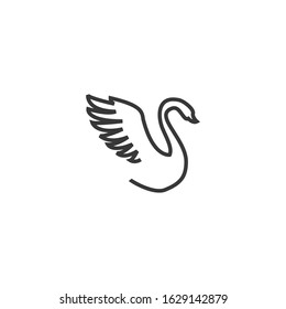 swan icon vector sign isolated on white background. swan symbol template color editable
