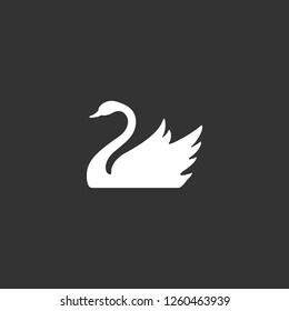 swan icon vector. swan sign on black background. swan icon for web and app