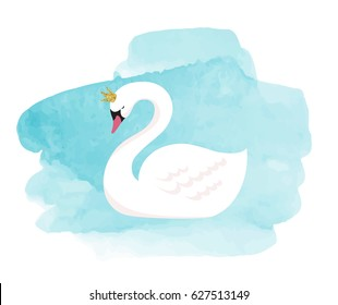 Swan lake, illustration, greeting card and poster